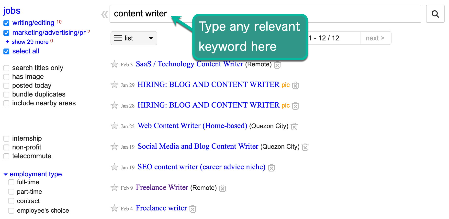 Craigslist Listings for Content Writer